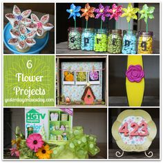 6 Flower Projects for Spring: Get set for spring with these DIY projects including a mini Mason Jar sign, fresh House Numbers and a Spring Shadowbox #springcrafts #flowers #flowercrafts