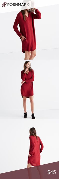 Madewell Du Jour Three-Quarter Sleeve Tunic Dress Modern take on a t-shirt dress.  Beautiful bright garnet color.  Great for fall! Madewell Dresses Mini