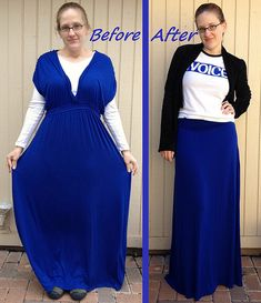 Cobalt Dress to Maxi Skirt [This is actually a quite simple refashion but I think the step by step description makes it a very helpful tutorial too - December 2013]