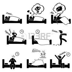 Man People Sleeping Dreaming Sex Nightmare Snoring Walking Insomnia Waking Up Stick Figure Pictogram Icon photo