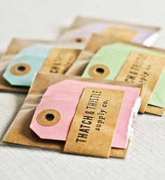 CHOOSE YOUR COLOR Mini Parcel Tags in Pastels — Thatch & Thistle Supply Co. // Pretty packaging, gift wrapping, crafting and party supplies for gifts, parties, birthdays, showers, weddings and decor. Shop for baker's twine, mini clothespins, paper bags, pom pom garland, paper straws, carnival tickets, stickers and more! // thatchandthistleco.etsy.com