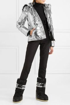 Silver and black shell, black faux fur Concealed snap and zip fastenings through front polyester; Moon Boots, Ski Pants, Down Coat, Fur Trim, Black Pants, Fashion Forward, Skiing, Faux Fur, Hoods