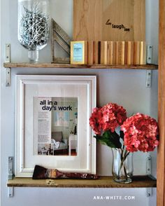 I want to make this!  DIY Furniture Plan from Ana-White.com  Industrial chic shelves made of reclaimed wood, inspired by Pottery Barn Blacksmith shelf. Save money by building your own shelves from reclaimed pallet boards and brackets.