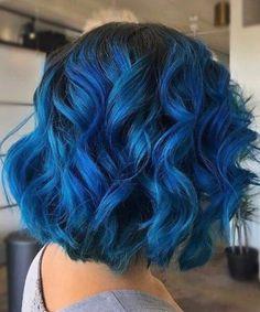 tintenblaues kurzes Haar ombre