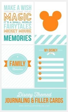 Free Disney Themed Journaling and Filler Cards {Set 1} by Maiden11976