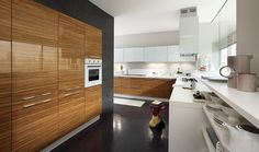 Wood wall paneling adds warmth to this contemporary white and grey kitchen Apartment Interior Design, Modern Interior Design, Wood Panel Walls, Wood Wall, Minimal Kitchen, Types Of Doors, Steel Doors, Shaker Style, Kitchen And Bath