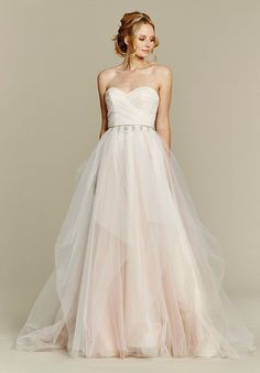 Cherry Blossom draped tulle ball gown, strapless sweetheart bodice and chandelier beaded belt at natural waist, full tulle skirt with pick up detail.