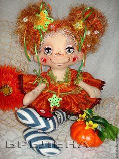 Текстильная кукла Весёлая Тыковка 2. - оранжевый,интерьерная кукла,текстильная кукла