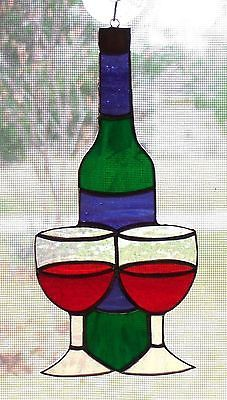 Handmade Stained Glass Wine Bottle & Glasses Red Wine (WB36)