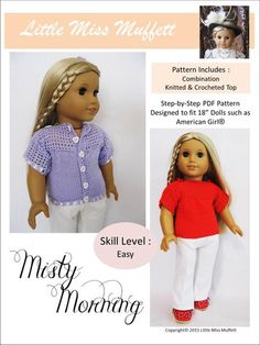 Little Miss Muffett Misty Morning Doll Clothes Pattern 18 inch American Girl Dolls   Pixie Faire