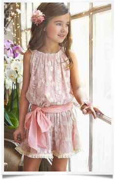 Tartaleta Pink Lace Mini Sash Dress | Chichi Mary Kid's Boutique. This is perhaps the most perfect summer dress for a child attending a wedding I've ever seen. Simply gorgerous!