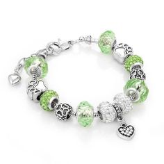 Antique Bracelet with Green Crystal Beads