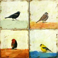 The bird watcher encaustic paintings SET of 4 by BrightDay