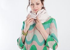 pink, green, turquoise on grey soft linen fabric for tunics and dresses and single colour linen for scarves
