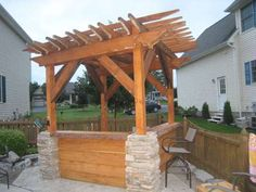 Pergola for hot tub with bar
