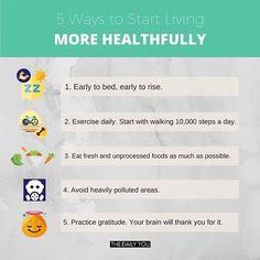 Without a sound body and mind, we won't be able to work well to live our higher purposes! Check out this infographic for five ways to start living more healthfully. 10000 Steps A Day, Practice Gratitude, Your Brain, 5 Ways, Infographics, Mindfulness, Wellness, Exercise, Live