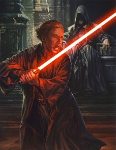A young Darth Sidious training before his master, the Sith Lord Darth Plagueis