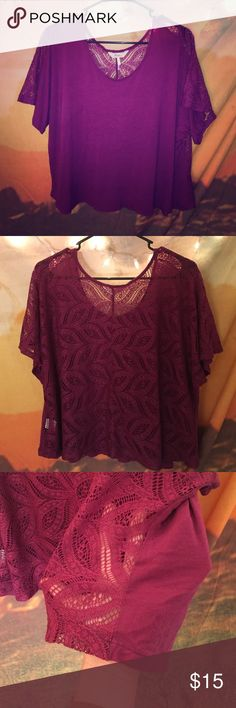 Purple/maroon Kirra blouse Size medium flowy blouse from PacSun. The front is solid while the back is a  see through lace! It's a flirty/fun shirt, but also looks classy PacSun Tops Blouses