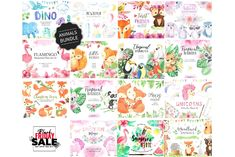 BUNDLE Watercolor Cute Animals by LarysaZabrotskaya on Spring Animals, Baby Animals, Cute Animals, Watercolor Animals, Watercolor Flowers, Plants With Pink Flowers, Baby Shower Clipart, Tropical Animals, Hand Art
