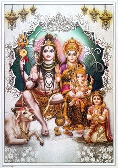 Lord Shiva Parvati Ganesha Karthik Lord Shiva Pics, Lord Shiva Hd Images, Lord Shiva Family, Lord Vishnu Wallpapers, Lord Ganesha Paintings, Lord Shiva Painting, Shiva Art, Hindu Art, Shiva Parvati Images