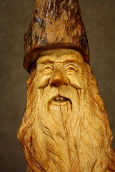 A Wood Spirit wood carving original Tree by TreeWizWoodCarvings