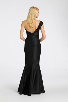 Black dupioni soft fluted bridesmaid gown, strapless sweetheart neckline, asymmetrical seams. Style 5529