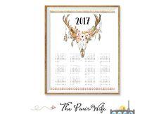 2017 Printable Calendar 2017 Wall Calendar by TheParisWife on Etsy