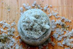 Calming Sugar Scrub Recipe:  2 cups sugar 1 cup coconut oil 10 drops rosemary 3 bags calming tea