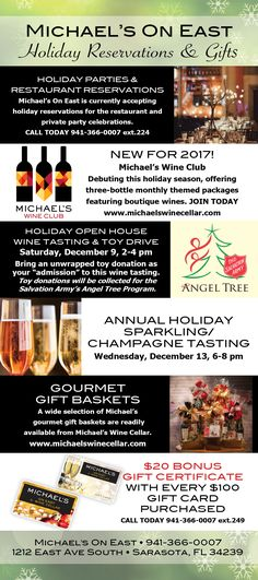 One of our original DiRoNA Awarded restaurants Michael's On East in Sarasota, FL has plenty going on this holiday season! Holiday Open House, 🍾 Champagne Tasting, Gift Baskets, 🍷 Wine Club 🍷, plus you can book your holiday party celebration 🎉 #holiday2017 #champagne #finewine #sarasota #dirona #dironadining
