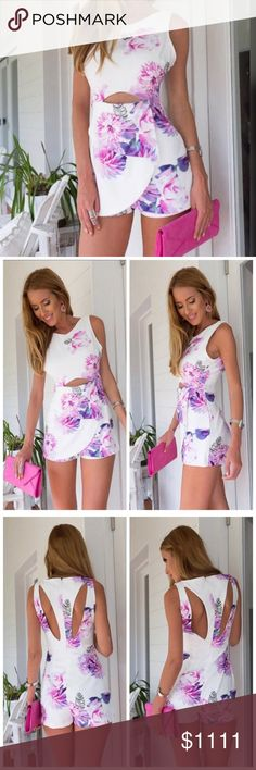 Sweet Lily Romper Sheer white off the shoulder floral romper. Runs small, order size up, See sizing/measurement chart. **Material: Cotton Blend **Hand Wash, Lay Flat To Dry **Measurements & Sizing recommendations are for guidance only. Fit not guaranteed.  **All sales final (Posh Mark policy). **Ask questions prior to purchasing. I want happy customers!  **Price firm unless bundled. Thanks for visiting & Happy Poshing! Beauty Shines On Boutique Pants Jumpsuits & Rompers