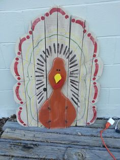Thanksgiving: Pallet Wood Turkey - We finished 5 of these guys this Girls Weekend.  This picture is before the sign was added.  They turned out pretty cute.  Thanks Jackie; Liz and Mom.  It was a great girls weekend.