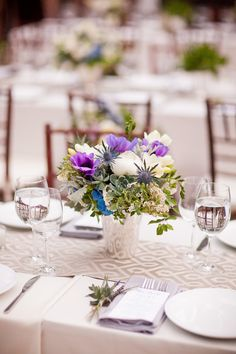 2018 pantone color of the year, pantone color of the year 2018, Urban Chic Spring Wedding at The Foundry, flower arrangement table centerpiece, bright purple accent, pantone ultra violet, dark purple, violet