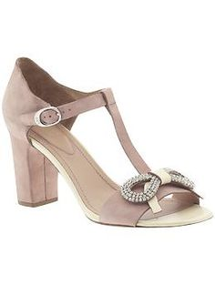 See by Chloe Gansevoort sandals in light rose suede with a crystal bow. Wedding day sandals?