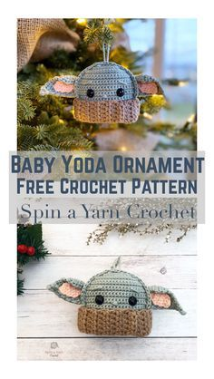 Baby Yoda Ornament Still can't get enough of Baby Yoda? Add him to your Christmas tree this holiday season with this quick and easy crochet ornament pattern! crochet pattern for baby yoda Crochet Simple, Cute Crochet, Crochet Yarn, Crotchet, Crochet For Baby, Doilies Crochet, Crochet Toys, Yarn Projects, Knitting Projects