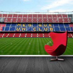 Fotobehang Mes que un club | Maak het jezelf eenvoudig en bestel fotobehang voorzien van een lijmlaag bij YouPri om zo gemakkelijk jouw woonruimte een nieuwe stijl te geven. Voor het behangen heb je alleen water nodig!   #behang #fotobehang #print #opdruk #afbeelding #diy #behangen #barcelona #spaans #voetbal #sport #voetbalclub #fcb #stadion