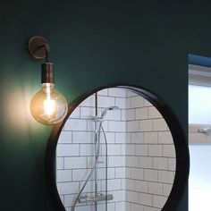 Vintage Sleek Edison Wall Light in Copper by Industville shown in bathroom