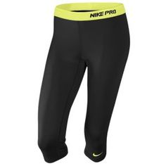 Nike Pro Capri II - Women's - Training - Clothing - Black/White Lime