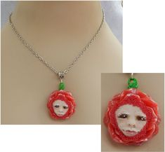 Rose Red Fairy Pendant Necklace Jewelry Handmade NEW Polymer Clay NEW Fairies Mixed Media Chain Silver by britpoprose99 on Etsy