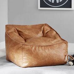 Vegan Leather Caramel Modern Lounger Leather Bean Bag Chair, Leather Swivel Chair, Leather Bed, Cool Cube, Teen Lounge, Modern Lounge, Modern Boho, Lounge Seating, Lounge Decor