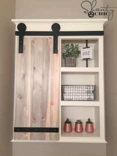 DIY Bathroom Decor Ideas - DIY Sliding Barn Door Bathroom Cabinet - Cool Do It Yourself Bath Ideas on A Budget, Rustic Bathroom Fixtures, Creative Wall Art, Rugs, Mason Jar Accessories and Easy Projec(Diy Furniture On A Budget) Diy Sliding Barn Door, Sliding Door Hardware, Sliding Doors, Door Hinges, Front Doors, Sliding Cupboard, Door Latches, Sliding Shelves, Cupboard Doors
