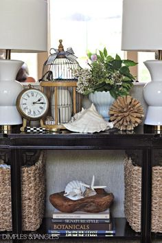 sofa table styling // beach accessories // shells // summer