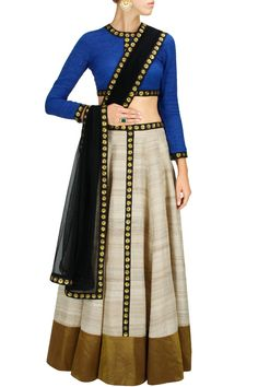 Priyal Prakash Blue, Beige & Black Sequin Embroidered #Lehenga Set. Available Only At Pernia's Pop-Up Shop.