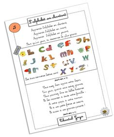 """free printable of lyrics to Chantal Goya's cheesy and dated """"L'alphabet en chantant"""" which my kids love but I can't get out of my head now! Illustrated with letters representing an object that begins with that letter--very cute Iris Folding, Kid Movies, Teaching French, Learn French, Story Time, Poems, Bullet Journal, Classroom, Letters"""