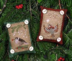Birdie Button Ornaments from Victoria Sampler!