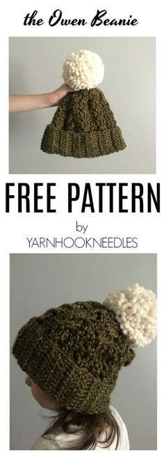 30 Days of Beanies! Try this Amazing Crochet Cable Beanie! Get the FREE Pattern at YarnHookNeedles! -