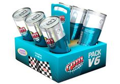 RPM energy drink packaging inspired by car racing.