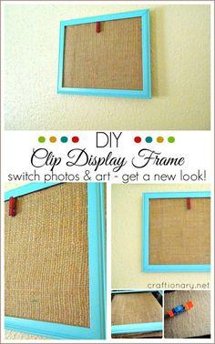 I love this simple burlap display frame for playroom.. Fun way to display kids art!