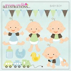 Baby Boy Cute Digital Clipart for Card Design by JWIllustrations, $5.00
