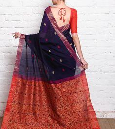 Royal Blue Cotton Handloom Saree