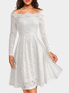Navy Crochet Lace Embellished Bateau Long Sleeves Party Dress - US$29.95 -YOINS